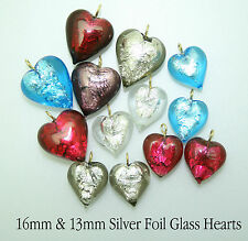 Silver Foil Glass Hearts For Jewellery Making 13mm or 16mm