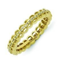 Diamond Eternity Band Sterling Silver Gold Tone Sz 5-10 Stackable Expressions