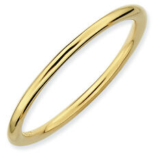 Band Ring .925 Sterling Silver Gold Tone Polished Sz 5-10 Stackable Expressions