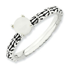 White Agate Ring .925 Sterling Silver Antiqued Size 5-10 Stackable Expressions