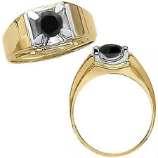 0.75 Carat Black Diamond Solitaire Mens Engagement Ring 14K White Yellow Gold
