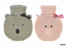 CHILDREN KNITTED CUTE CUDDLY PIG OR KOALA DESIGN HOT WATER BOTTLES