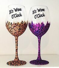Personalised Mothers Day Gift Leopard Print Large Wine Glass for Mum - Birthday