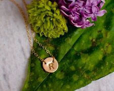 Initial Necklace 14k Gold Filled or Sterling Silver Tiny Custom Stamped Disc