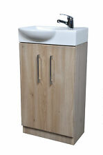 450Mm 2 Door Cloakroom Vanity Unit With Curved Front Basin Sink And Rio Tap