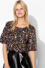 H&M Conscious Trend Jersey Sequined Multicolored Short Top Blouse sz M LAST RARE