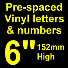 """QTY of: 2 x 6"""" 152mm HIGH STICK-ON SELF ADHESIVE VINYL LETTERS & NUMBERS"""