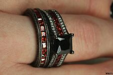Lovely Womens Black Rhodium Red Black White Stones Engagement Wedding Ring Set
