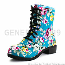 Brand New Womens Four Season Lace up Floral Mid Knee Boots - Turquoise