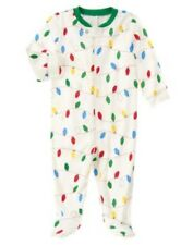 GYMBOREE HOLIDAY SHOP X-MAS LIGHTS STRIPED FOOTED ONE PIECE Preemie 0 3 6 9 NWT