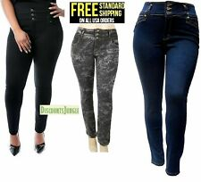NEW WOMENS PLUS SIZE BLACK Denim JEANS Stretch SKINY Ripped Distressed Pants