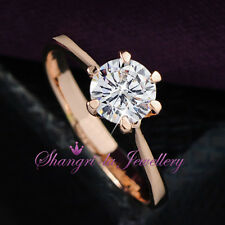 18K 18CT GOLD GF Classic 1.0CT WEDDING Engagement RING SWAROVSKI DIAMOND R2077