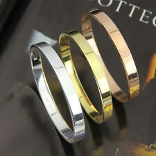 Men Fashion Cool Gold Silver Bracelet Bangle Stainless Steel Polished Wristband