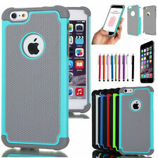"For Apple iPhone 6 4.7"" 6 Plus 5.5"" Black Rugged Rubber Matte Hard Case Cover"