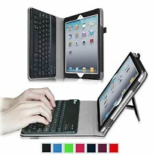 Folio Leather Removable Case Detachable Bluetooth Keyboard Cover for iPad 4/3/2