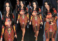 NEW KIM KARDASHIAN LADIES CELEBRITY AZTEC PRINT WOMENS BODYCON MINI MIDI DRESS