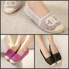 2015 Fashion Women's net hole straw Flats Cozy casual Lounger shoes 3 colors
