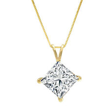 2.00 ct Princess Cut14k Solid Yellow Gold Solitaire Pendant Necklace with Chain