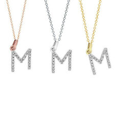 Diamond Initial Necklace 14K Real gold M diamond initial pendant charm 0.10 ct