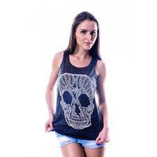 Lace Skull Burnout Girls Vest Sleeveless Casual Fitted Hip Length Scoop Neck SML