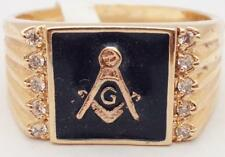 14K GOLD EP MASONIC  MASON MENS cz RING sz 9-13 u choose freemason blue