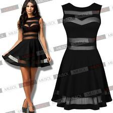 New Womens Sexy Ladies Mesh Panel Cocktail Mini Clubwear Party Prom Dresses 4-18