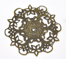 Wholesale Bronze Tone Filigree Flower Wraps Connectors Embellishments 55mm