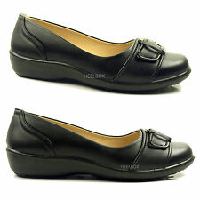 Womens Ladies Black Flat Low Wedge Buckle Soft Work Office Comfort Shoes Size