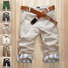 Hot Summer Men's Slim Capris Trousers Cropped Pants Plaids Shorts Casual Wear A
