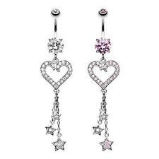 Heart Star Sparkles Belly Ring Dangle Navel Clear Pink Body Jewelry Sexy Love