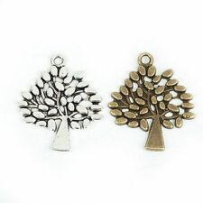 20/40pcs  Tree Charms Antique Silver&Bronze Alloy Pendant For Jewelry Making