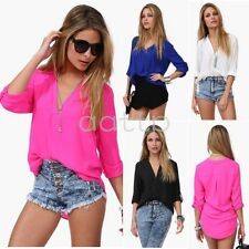Women's Sexy Fashion Loose Chiffon V-Neck Tops Long Sleeve Shirt Casual Blouse--