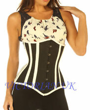 Black cotton corset under bust Authentic Victorian top STEEL BONED TIGHT LACING