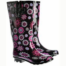 WOMENS LADIES FUNKY FESTIVAL EXTRA WIDE CALF WELLIES WELLINGTON BOOTS SIZES 3-8