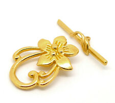 Wholesale Lots DIY Jewelry Flower Toggle Clasps Gold Plated Lily 20x30mm