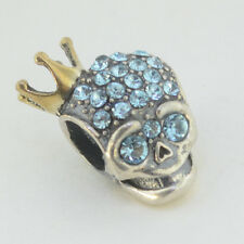 Sterling Silver 925 European Charm Skull Blue CZ & Gold Plate Crown Bead 99115