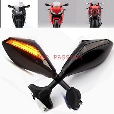 BLACK LED TURN SIGNALS REARVIEW SIDE MIRRORS FOR HONDA CBR 250 600 1000 RR F3 F4