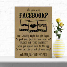 Personalised A4 Facebook App Photo Booth Sign Wedding Props BUY 2 GET 1 FREE (U)