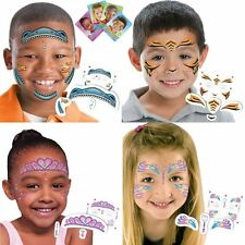 Boys Girls Fun Faces Temporary Tattoos Childrens Party Loot Bag Filler Kids