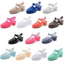 Womens Ladies Jelly Sandals Strappy Mid Heel Summer Beach Retro Girls Shoes Size