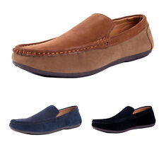 Mens casual Moccasin slip on suede Loafer fashion Driving PU Leather Shoes