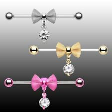 Industrial Barbell Bow Cartilage Piercing CZ Clear Pink Gold Silver Body Jewelry