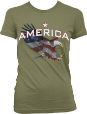 America Star Eagle Red White Blue Flag Colors USA Pride Country Juniors T-Shirt