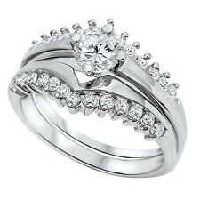 Sterling Silver Round Solitaire CZ Cluster Accent Two Piece Wedding Ring Set 202