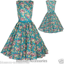 RKB6 Lindy Bop Audrey Turquoise Floral Swing Party Dress 50s Rockabilly Vintage