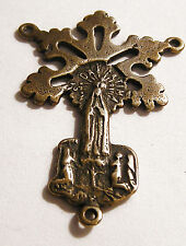 Our Lady of Fatima Antique Replica Rosary Center Sterling Silver or Bronze 1238