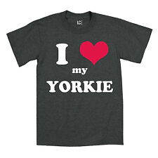 I Heart Love My Yorkie Dog Breed Puppy Pet Parent Puppies Animal Mens T-Shirt