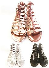 New Womens Gladiator Rhinestone Glitter Thong Anckle Zipper Flat sandals shoes