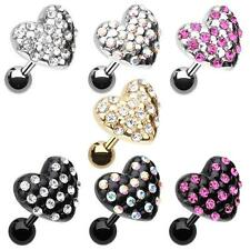 Fluffy Heart Tragus Cartilage Earring Clear AB Pink Gold Sliver CZ Body Jewelry
