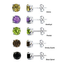 Jewelry By V3 925 Sterling Silver 6mm Choice of Natural Gemstone Stud Earrings
